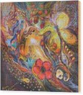 The Blue Lilies Wood Print by Elena Kotliarker