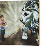 The Boy And The Lion 3 Wood Print