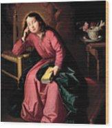 The Child Virgin Asleep Wood Print