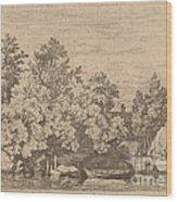 The Cudgel Dam And Covered Bridge Wood Print