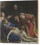 The Dead Christ Mourned The Three Maries Wood Print