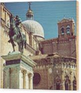 The Equestrian Statue Of Bartolomeo Colleoni In Venice Wood Print