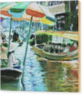The Floating Market Wood Print