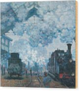 The Gare Saint-lazare Arrival Of A Train Wood Print