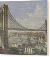 The Great East River Suspension Bridge Wood Print