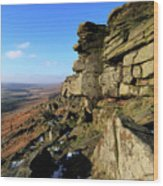 The Gritstone Rock Formations On Stanage Edge Wood Print