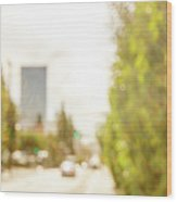 The Hedge By The Sidewalk During Day In The City Of Los Angeles Wood Print