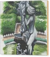 The Hidden Fountain Wood Print