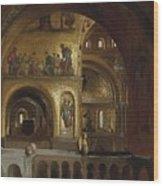 The Interior Of St Marks Basilica Venice Frederick Leighton Wood Print