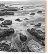 The Jagged Rocks And Cliffs Of Montana De Oro State Park Wood Print