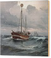 The Lightship At Skagen Reef Wood Print