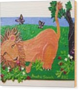 The Lion Who Loves Strawberries Wood Print