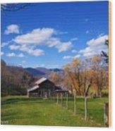 The Log Barn Wood Print