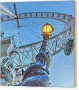 The London Eye And Street Lamp Wood Print