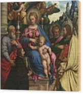 The Madonna And Child With Angels Saints And A Donor Wood Print