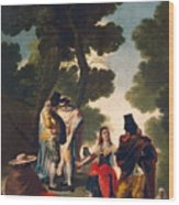 The Maja And The Cloaked Men, Or A Walk Through Andalusia Wood Print