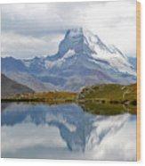 The Matterhorn And Lake Stellisee Wood Print