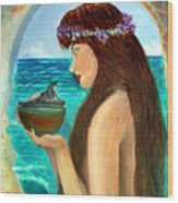 The Mermaid And The Pandora Box Wood Print