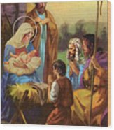 The Nativity Wood Print by Valer Ian