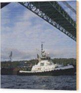 The New Tacoma Narrows Bridge - Foss Tug Wood Print