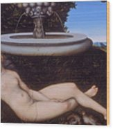 The Nymph Of The Fountain Wood Print