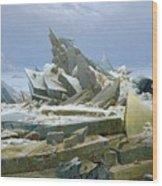 The Polar Sea Wood Print by Caspar David Friedrich
