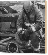 The Praying Firefighter Black And White Wood Print