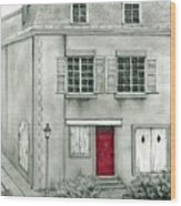 The Red French Door Wood Print