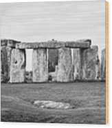 The Slaughter Stone In Front Of View Of Circle Of Sarsen Stones With Lintel Stones Stonehenge Wiltsh Wood Print