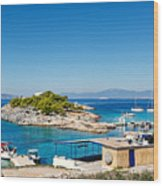 The Small Island Aponisos Near Agistri Island - Greece Wood Print