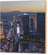 the Strip at night, Las Vegas Wood Print