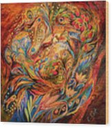 The Tale About Fiery Rooster Wood Print