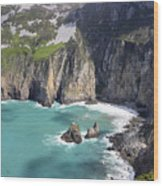 The Turquoise Water At Slieve League Sea Cliffs Donegal Ireland  Wood Print by Pierre Leclerc Photography