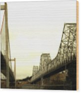 The Two Carquinez Bridges At Crockett And Vallejo California . Aka Alfred Zampa Memorial Bridge . 7d8830 Wood Print by Wingsdomain Art and Photography