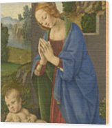 The Virgin Adoring The Child Wood Print