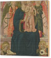 The Virgin And Child Enthroned With Angels Wood Print