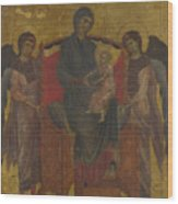 The Virgin And Child Enthroned With Two Angels Wood Print