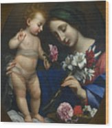 The Virgin And Child With Flowers Wood Print