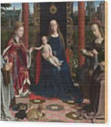 The Virgin And Child With Saints And Donor Wood Print