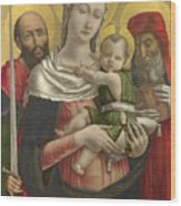 The Virgin And Child With Saints Paul And Jerome Wood Print