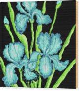Three  Blue Irises Wood Print