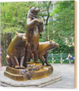 Three Bronze Sculpture Statue Of Bears Great Attraction At New York Ny Central Park By Navinjoshi Wood Print