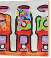 Three Candy Machines Wood Print