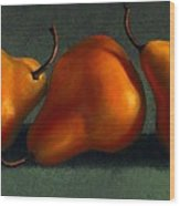 Three Golden Pears Wood Print