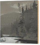 Three Men In A Canoe Wood Print
