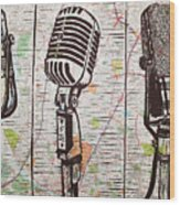 Three Microphones On Map Wood Print