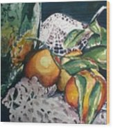 Three Oranges Wood Print