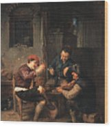 Three Peasants At An Inn Wood Print