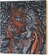 Tiger Bathing Wood Print
