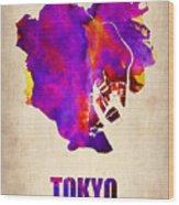 Tokyo Watercolor Map 2 Wood Print